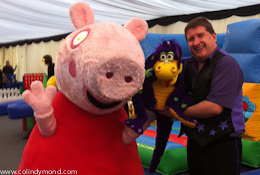 Cheltenham Racecourse Magician with Snot The Dragon and Pepper Pig